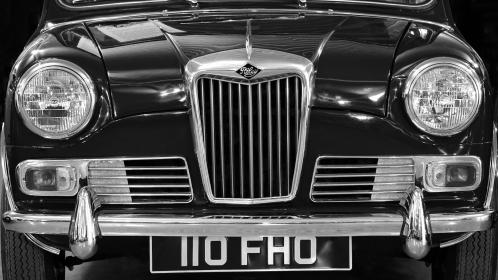 car, vehicle, vintage, riley, black and white, grayscale, monochrome