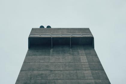 tower, building, perspective, grey, industrial, sky, architecture