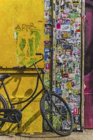 bicycle, bike, aesthetic, stickers, vandalism, paper, sign, wall, logo