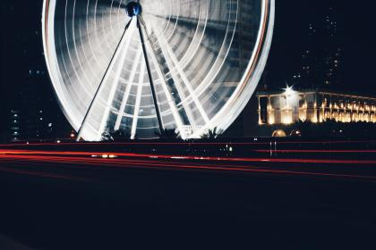 ferris wheel, amusement park, architecture, infrastructure, structure, dark, night, long exposure, lights