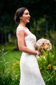bride,  wedding,  smiling,  happiness,  flowers, bouquet, celebration, love, beauty, person, woman