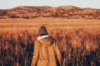 people, back, hoodie, jacket, beanie, walking, fitness, exercise, outdoor, nature, field, mountain, landscape