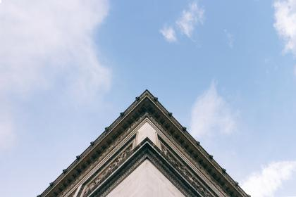 architecture, building, roof, blue, sky, clouds