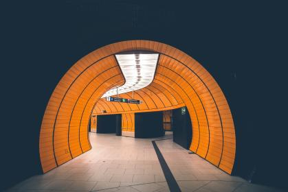 architecture, tunnels, subway, cylinder, tube, lights, shadows