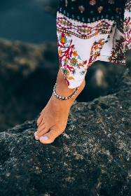 female,  foot,  fashion,  rocky,  shore,  coast,  boho,  summer,  bohemian,  woman,  barefoot,  bracelet,  jewelry,  anklet,  dress