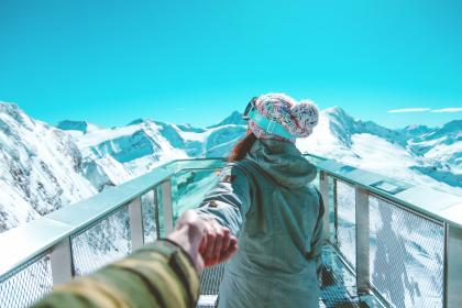 mountain, highland, blue, sky, summit, ridge, landscape, nature, valley, hill, snow, winter, view, travel, people, couple, holding hands, girl