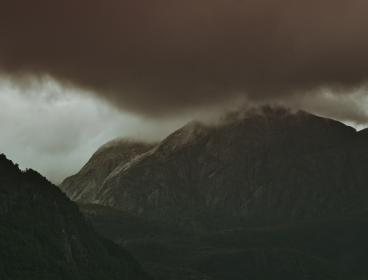 dark, clouds, mountain, valley, highland, trees, landscape, nature