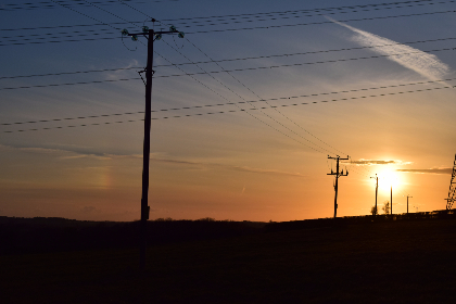 sunset,  powerlines,  wales,  silhouette