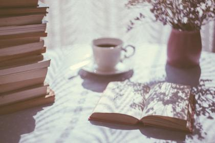 books, knowledge, education, table, morning, sunlight, flower, coffee