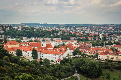 landscape,  mountain,  prague,  europe,  travel,  view, buildings, houses, rooftops, sky, clouds, trees, nature, city, architecture