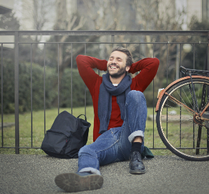 relaxed,  man,  smile,  happy,  relax,  bike,  sitting,  park,  people,  scarf,  fashion,  jumper,  jersey