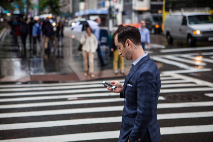 Businessman,   Contact,   Man,   NYC,   People,   Phone,   Talking,   Technology,   USA,  Suit,  Crossing,  Car, city