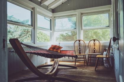 house, home, empty, chairs, hammock, windows, glass, wood, sun, trees, green, rest, chill, pillow