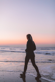 walking,  beach,  woman,  silhouette,  waves,  sunset,  sky,  healthy,  peaceful,  calm,  pretty,  dusk,  sand,  water