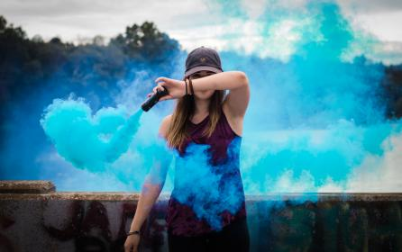 outside, blue, smoke, people, woman, girl, female