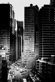architecture, building, infrastructure, blue, sky, skyscraper, tower, road, street, pedestrian, lane, car, transportation, tree, plant, people, walking, city, urban, black and white