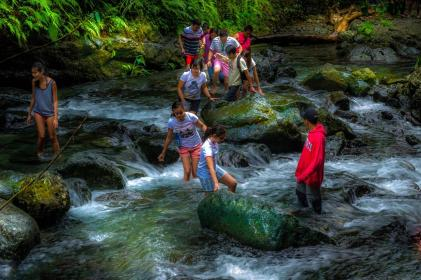 people, girls, guys, friends, outdoor, adventure, cold, water, stream, nature, grass, trees, rocks
