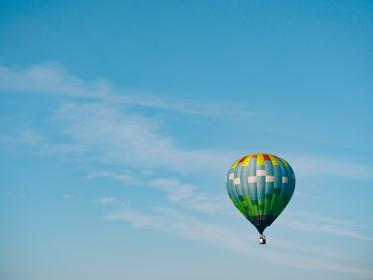 hot air balloon, blue, sky, cloud