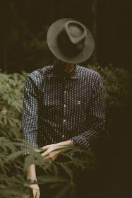 people, guy, man, nature, outdoor, fashion, hat, dark, blur, back, green, leaf