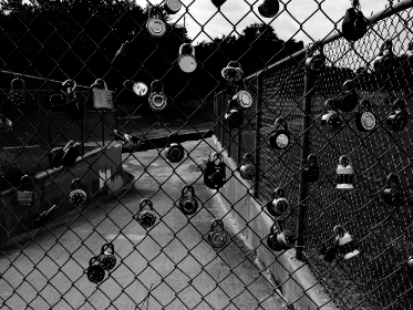fence, locks, school, black and white, chainlink, yard