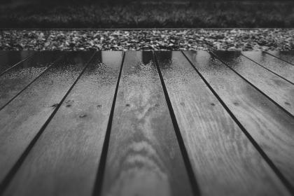 wood, deck, terrace, wet, raining, black and white