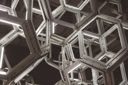 geometric,  industrial,  architecture,  lighting,  modern,  shapes,  hexagon,  contemporary,  abstract,  black and white,  grayscale,  monochrome,  structure,  steel,  pattern,  framework,  construction,  design,  aluminum