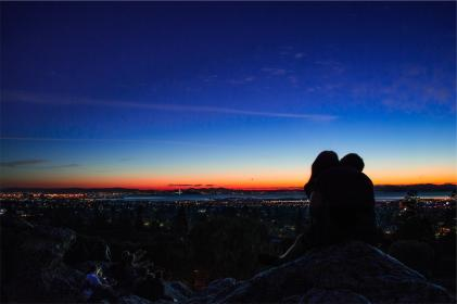 sunset, dusk, kissing, silhouette, couple, city, lights, people, view