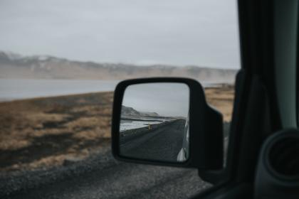 car, side, mirror, vehicle, blur, road, trip