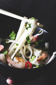 food, eat, gourmet, seafood, bowl, shrimp, vegetables, noodles, parsley, garnish, chopsticks, asian, cuisine, delicious, bokeh, still
