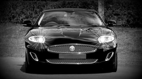 car, vehicle, headlights, black and white, grayscale, monochrome, jaguar