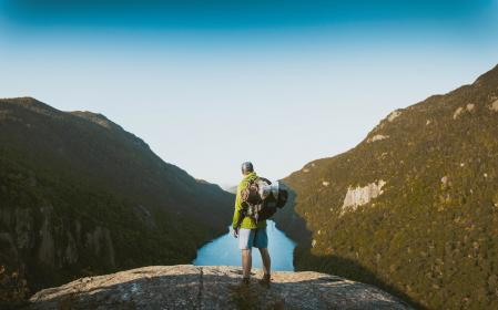 nature, mountains, trees, river, sky, people, man, guy, traveler, backpack, hike, millennials