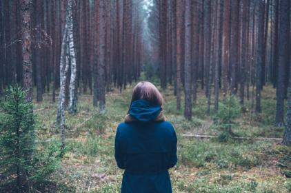 girl, woman, jacket, coat, trees, woods, forest, nature, outdoors, people, grass