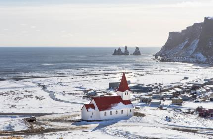 snow, winter, church, building, structure, sea, water, clouds, sky, horizon, cliff, rocks, hill, houses, sunny, day, landscape, nature