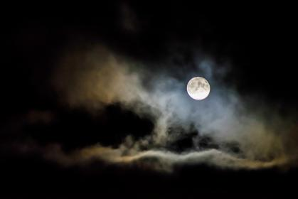 dark, night, sky, cloud, full, moon, bright, light