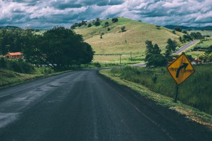rural, road, countryside, grass, fields, mountains, hills, landscape, nature, trees, sky, clouds