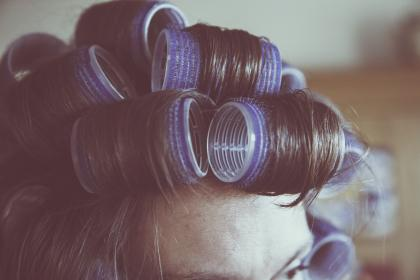 hair, curls, rollers, hairstyle, stylist, hairdresser, girl, woman, people