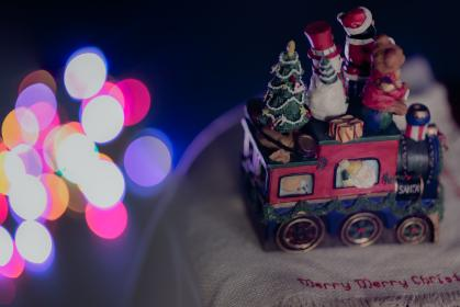 dark, night, holiday, christmas, lights, colorful, happy, snow, christmas tree, festival, toy