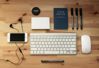 iphone, keyboard, mouse, objects, devices, pens, wood, table, desk, earbuds, lens, canon, notebook, business, creative