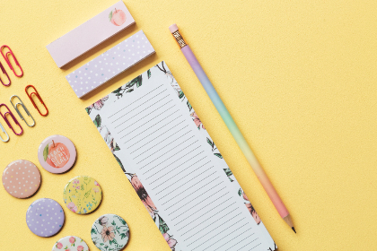 background,  paper,  colorful,  yellow,  pencil,  copy space,  objects,  note,  desk, flat lay, stationery, pastel