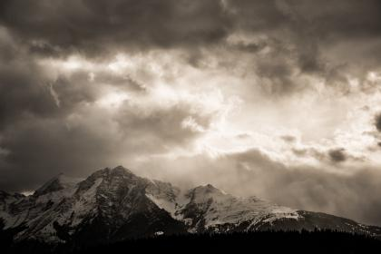 mountain,landscape, land, cold, view, aesthetic, clouds, snow, winter, rock, formation, dark, trees, pine,