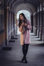 people, woman, beauty, cold, weather, coat, fashion, photography, photoshoot, scarf, hallway, architecture, pillar, building, establishment