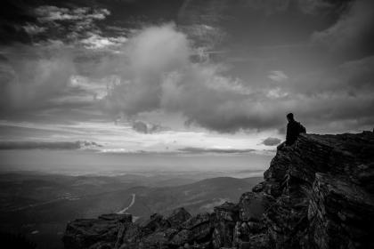 rocks, hill, cliff, landscape, peak, ridge, black and white, travel, outdoor, adventure, hike, climbing, view, clouds, sky