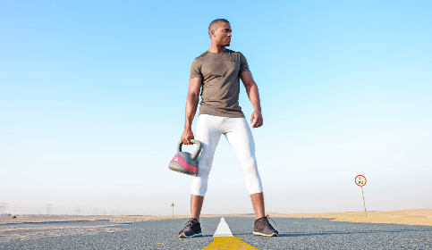 man,  kettlebell,  road,  isolated,  alone,  blue sky,  muscles,  black,  weightlifter,  lift,  sport,  power,  strong
