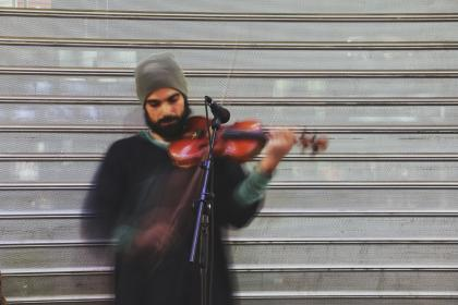 people, man, guy, musician, microphone, violin, musical, instrument