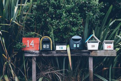 still, items, things, mail, boxes, bird, houses, numbers, graphic, nature, plants, trees