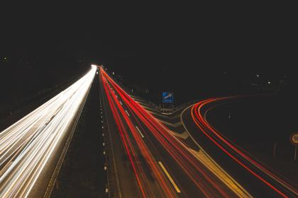 highway, road, cars, lights, driving, traffic, exit, dark, night, evening, city, urban