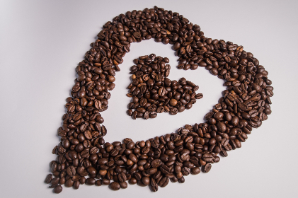 coffee,   beans,   love,   heart,   loveheart,   white,   background,   letters,   roasted,   fresh,   drink