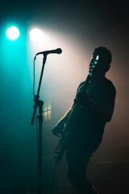people, man, guitar, concert, lights, party, singing, dark, microphone