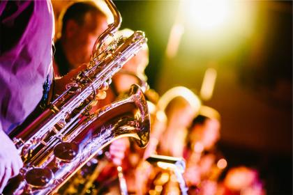 band, music, musical instruments, saxophones, horns, concert, show, entertainment, musicians