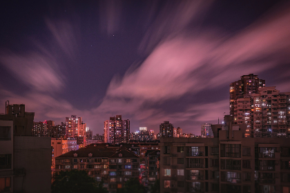 skyline,  cityscape,  buildings,  city,  urban,  architecture,  night,  evening,  dark,  sky,  clouds,  lights,  downtown,  high rises,  rooftops, balconies